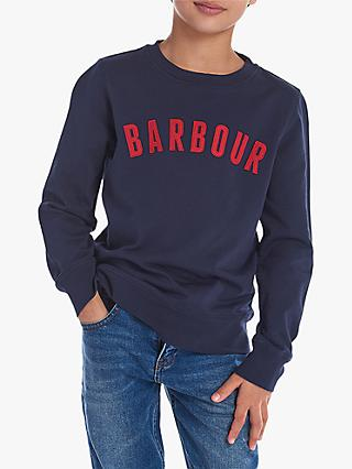 Barbour Boys' Prep Logo Crew Neck Sweater, Navy