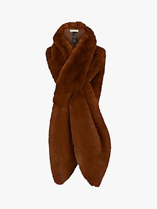 Hobbs Ellie Faux Fur Scarf, Toffee