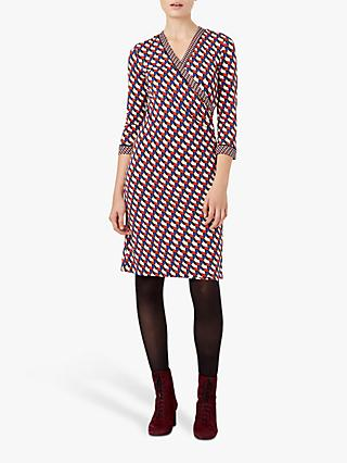 Hobbs Kay Geo Print Wrap Dress, Cobalt