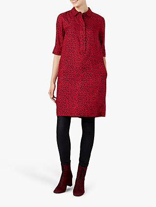 Hobbs Marciella Spot Print Shirt Dress, Pink Burgundy