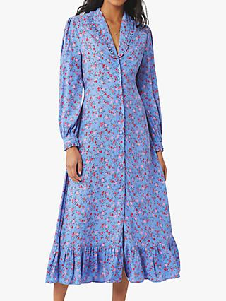 Ghost Anouk Floral Satin Midi Dress, Soft Blue/Multi