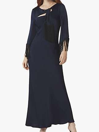 Ghost Angel Satin Tassel Maxi Dress, Navy