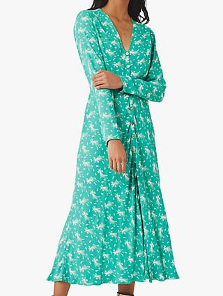 Ghost Laura Shooting Star Crepe Midi Dress, Mint