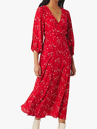 Ghost Aueline Moon and Star Crepe Wrap Midi Dress, Mara