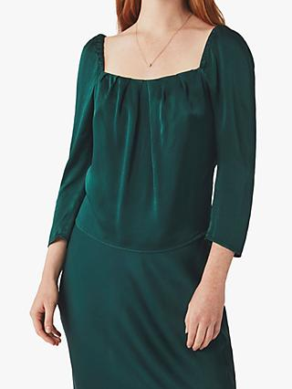 Ghost Holly Square Neck Top, Bottle Green