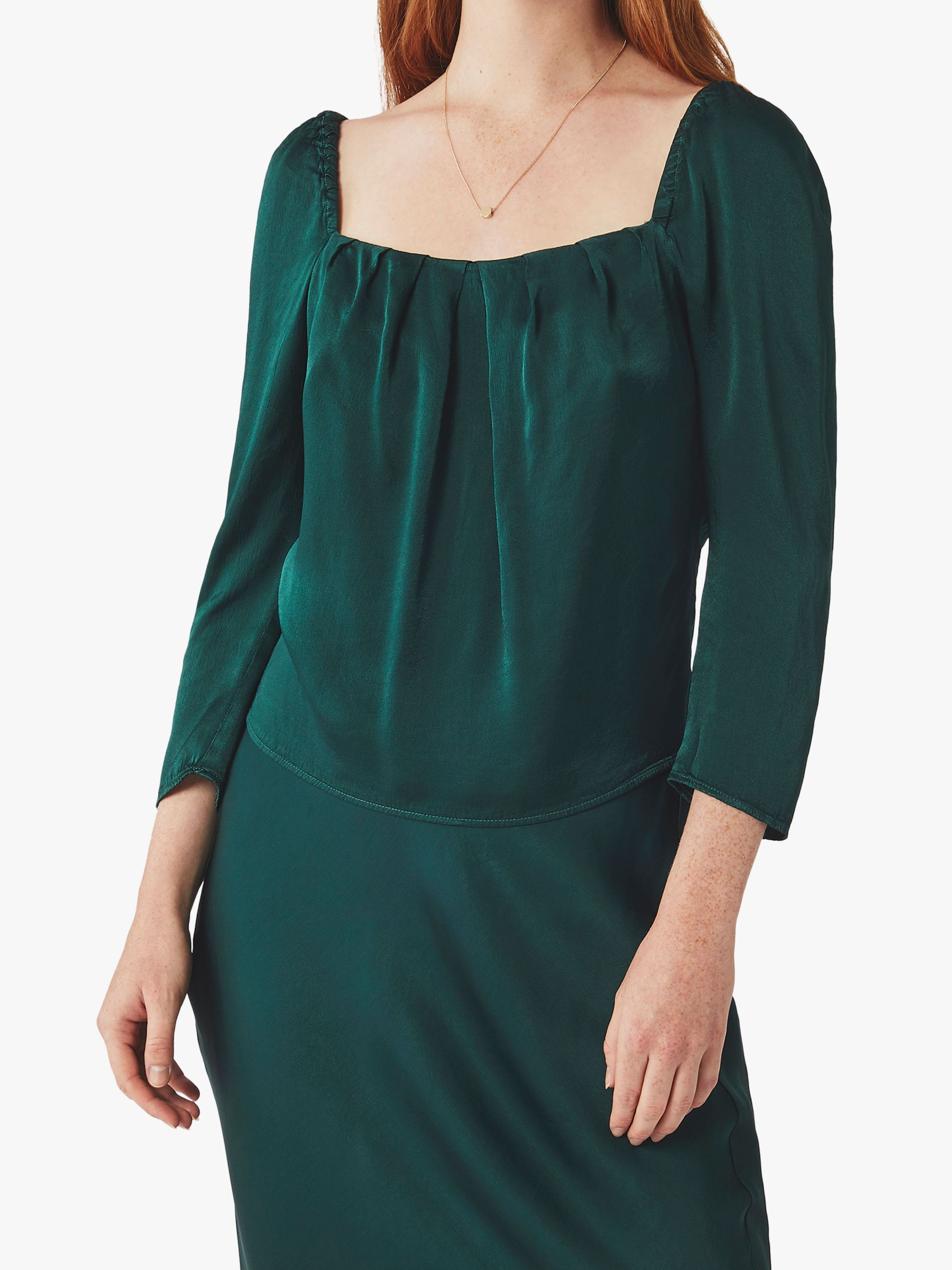 Ghost Ghost Holly Square Neck Top, Bottle Green
