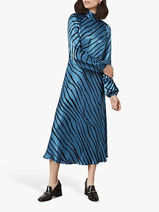 Finery Marianne Tiger Print Dress, Blue