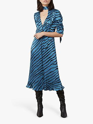 Finery Claredon Print Tie Neck Dress, Petrol