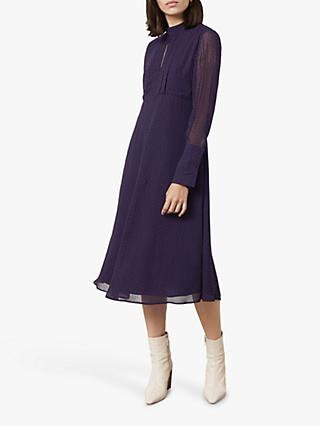 Finery Lorena High Neck Spot Dress, Multi Blue