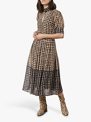 Finery Spencer Houndstooth Midi Dress, Black/Yellow