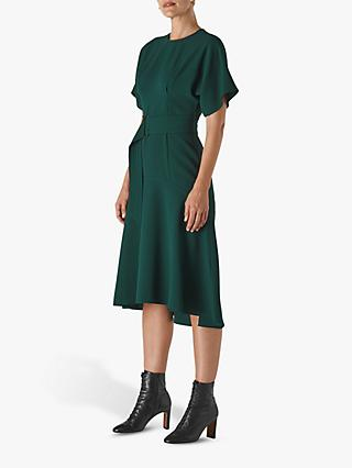Whistles Belted Flared Midi Dress, Green