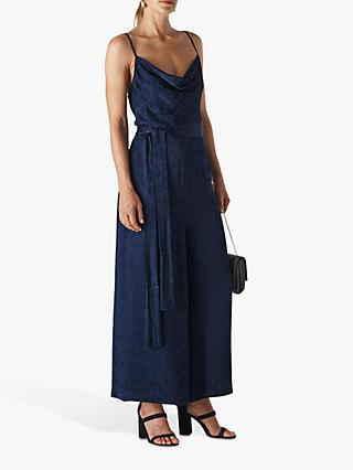 Whistles Cloud Jacquard Jumpsuit, Navy