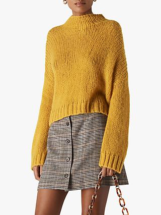 Whistles Oversized Textured Knit Jumper, Yellow