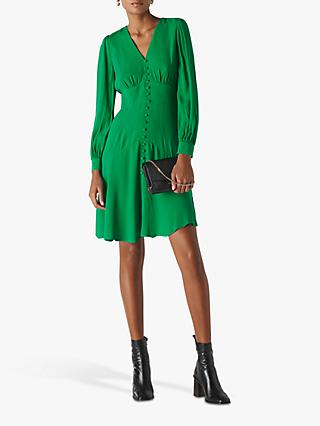 Whistles Button Through Mini Dress, Green