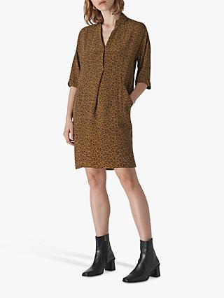 Whistles Mini Ikat Animal Lola Dress, Khaki/Multi