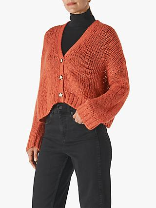 Whistles Oversized Textured Cardigan, Red