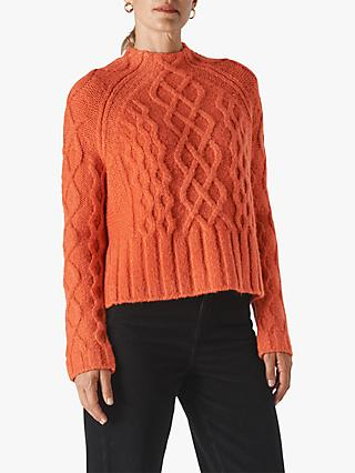 Whistles Wool Blend Modern Cable Knit Jumper, Orange