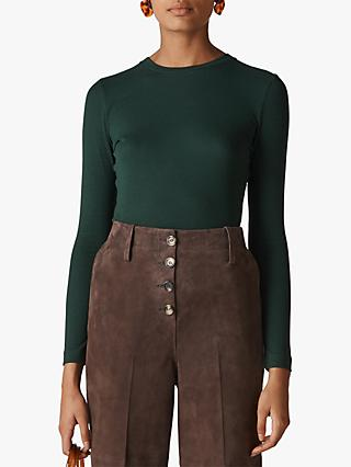 Whistles Essential Crew Neck Top, Dark Green