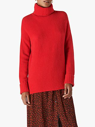 Whistles Oversized Roll Neck Jumper, Red