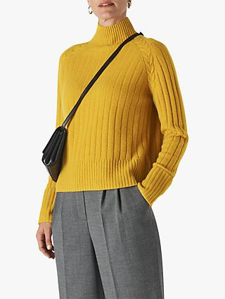 Whistles Wool Rib Detail Funnel Neck Jumper, Yellow