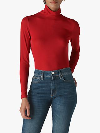 Whistles Essential Roll Neck Top, Red