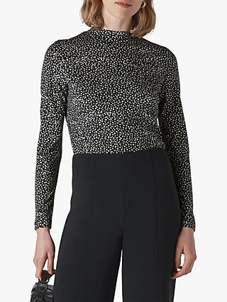 Whistles Mottled Spot Print Essential Top, Black/White