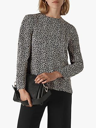 Whistles Autumn Floral Print Top, Black/Multi