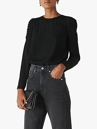 Whistles Nelly Ruched Long Sleeve Shell Top, Black