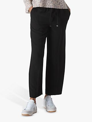 Whistles Crepe Tapered Joggers, Black