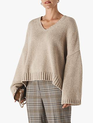 Whistles Oversized V-Neck Wool Jumper, Neutral