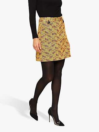 Damsel in a Dress Doria Abstract Print Mini Skirt, Yellow/Red