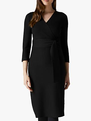 Jaeger Ribbed Merino Knit Dress, Black