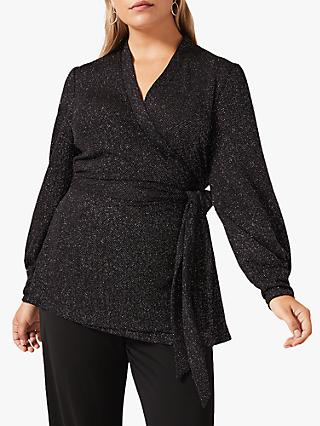 Studio 8 Denver Sparkle Wrap Top, Black