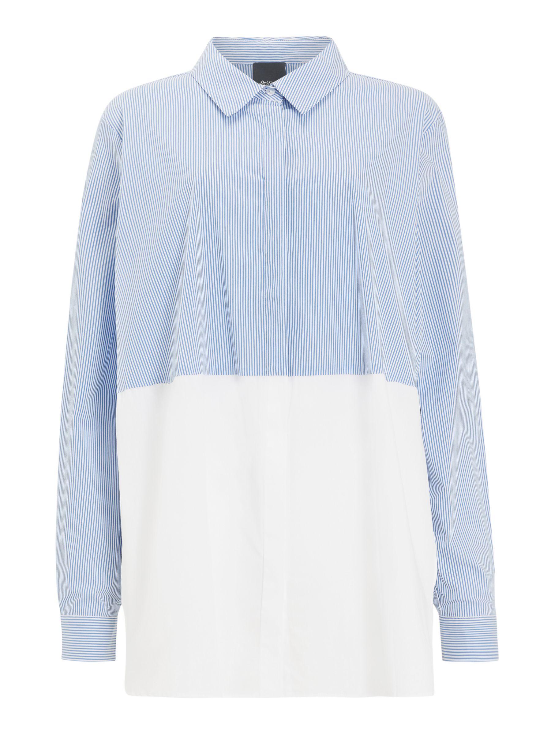 Persona by Marina Rinaldi Persona by Marina Rinaldi Balsa Stripe Shirt, White/Blue