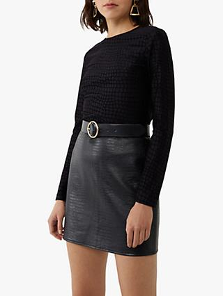 Warehouse Croc Textured Top, Black