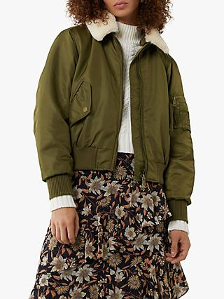 Warehouse Faux Fur Collar Bomber Jacket, Khaki
