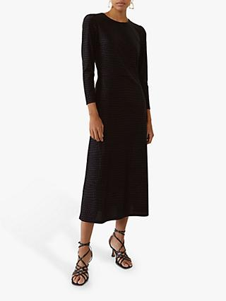 Warehouse Croc Textured Midi Dress, Black
