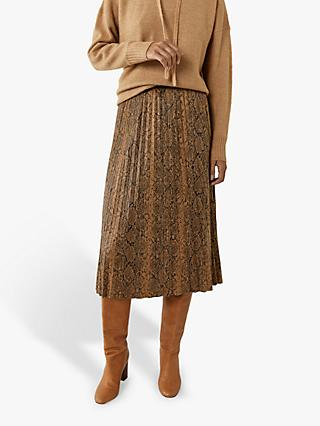 Warehouse Pleated Faux-Leather Skirt, Snake