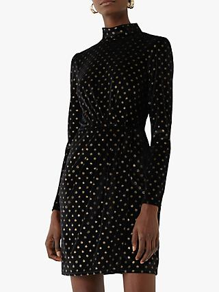 Warehouse Foil Spot Print Velvet Mini Dress, Black/Gold