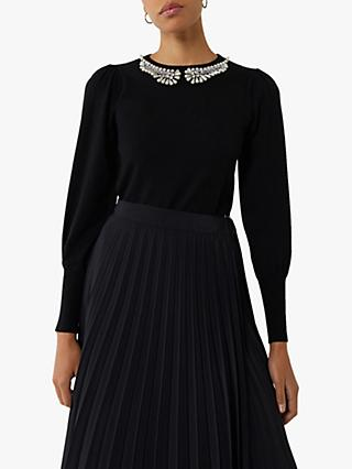 Warehouse Pearl Neck Puff Sleeve Jumper, Black