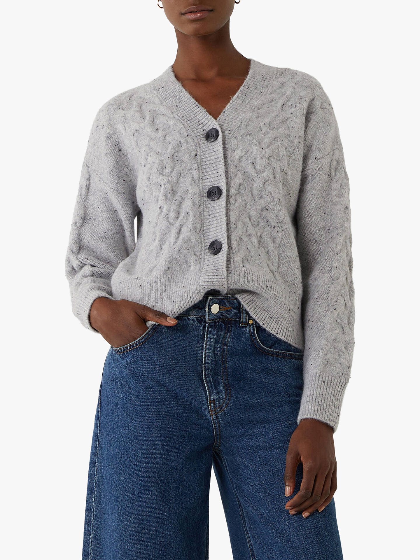 Warehouse Cable Knit Cardigan, Light Grey at John Lewis