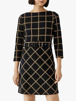 Warehouse Check Pencil Dress, Black