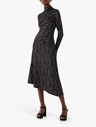 Warehouse Glitter Striped Dress, Black