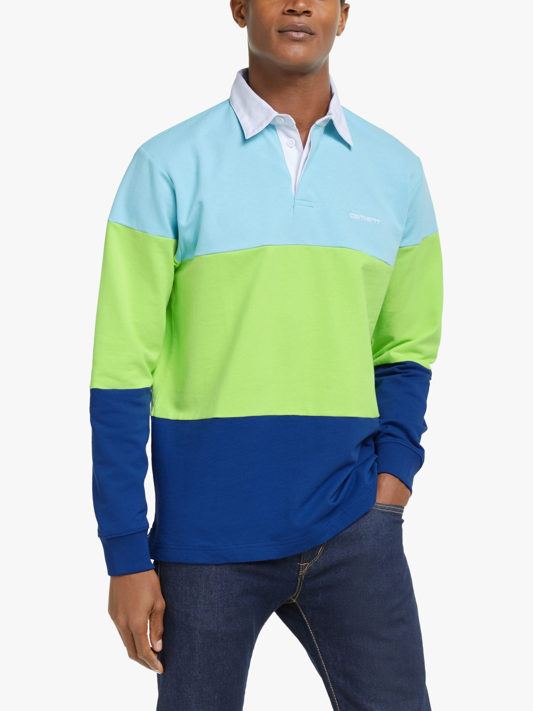 Carhartt WIP Carhartt WIP Newport Rugby Polo Shirt, Window/Lime/Submarine