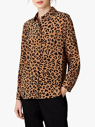 Jaeger Silk Animal Print Shirt, Tan