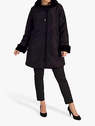 Chesca Faux Fur Lined Reversible Coat, Black