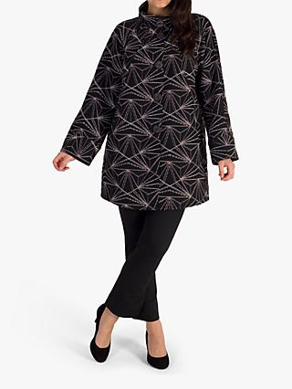 chesca Stand Collar Geometric Embroidery Coat, Black