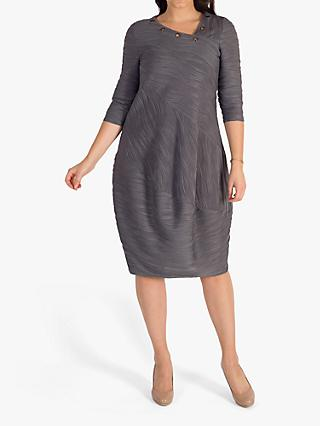 chesca Wavy Line Stripe Jersey Dress, Grey