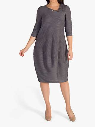 Chesca Wavy Line Stripe Jersey Dress, Grey