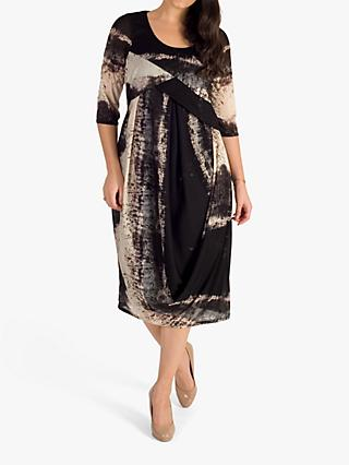 chesca Abstract Drape Dress, Black/Beige